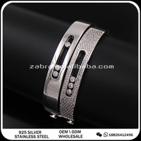 fashion brand jewelry 3 move rhinestone 14k gold bangle cuff bracelets