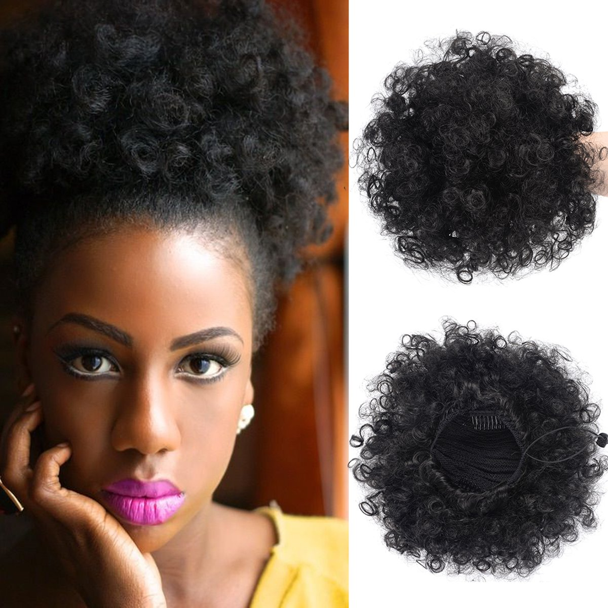 Synthetic Curly Ponytail,Short Elastic Drawstring Ponytail African American Afro Kinky Curly Hair Extension, Puff Ponytail Hair with Clips(large 1PC+ Hair Ties+Bobby pins)