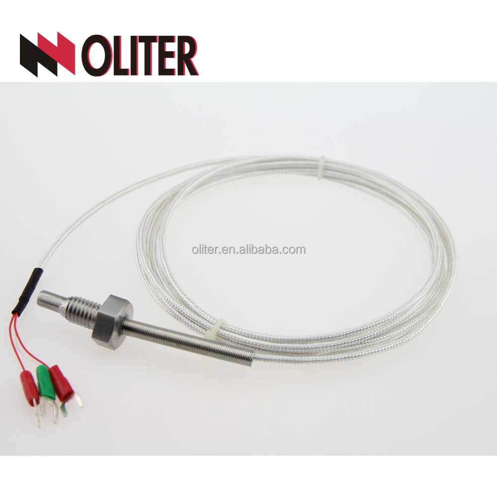 ODM customized lenght cable stainless probe 3 wires temperature sensor pt100