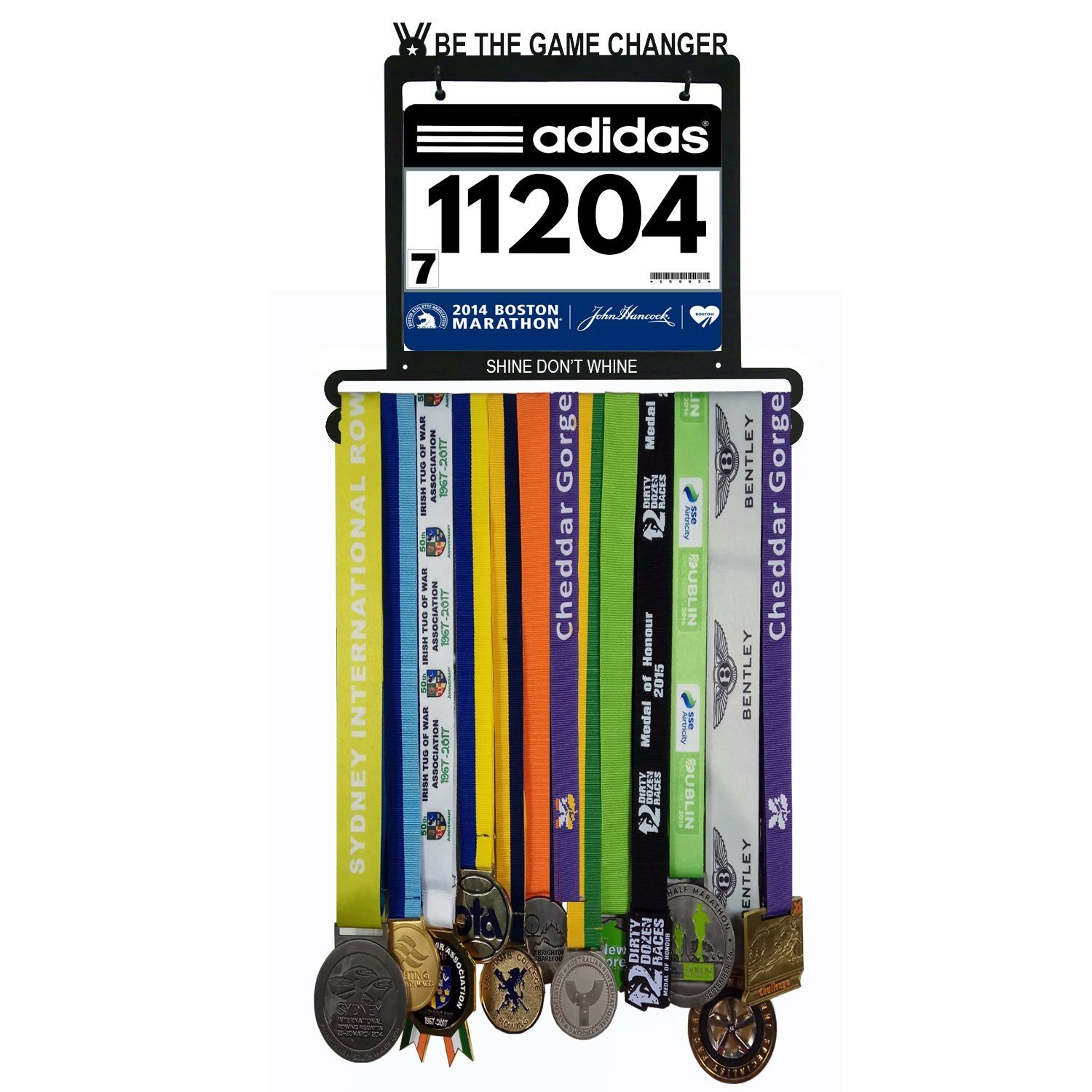 Wall Mounted Medal Hanger| Medal Rack for Runners, Gymnastics, Soccer, Wrestling, Athletics | Unique Race Bib Holder and Medal Display Frame by AJ Gear