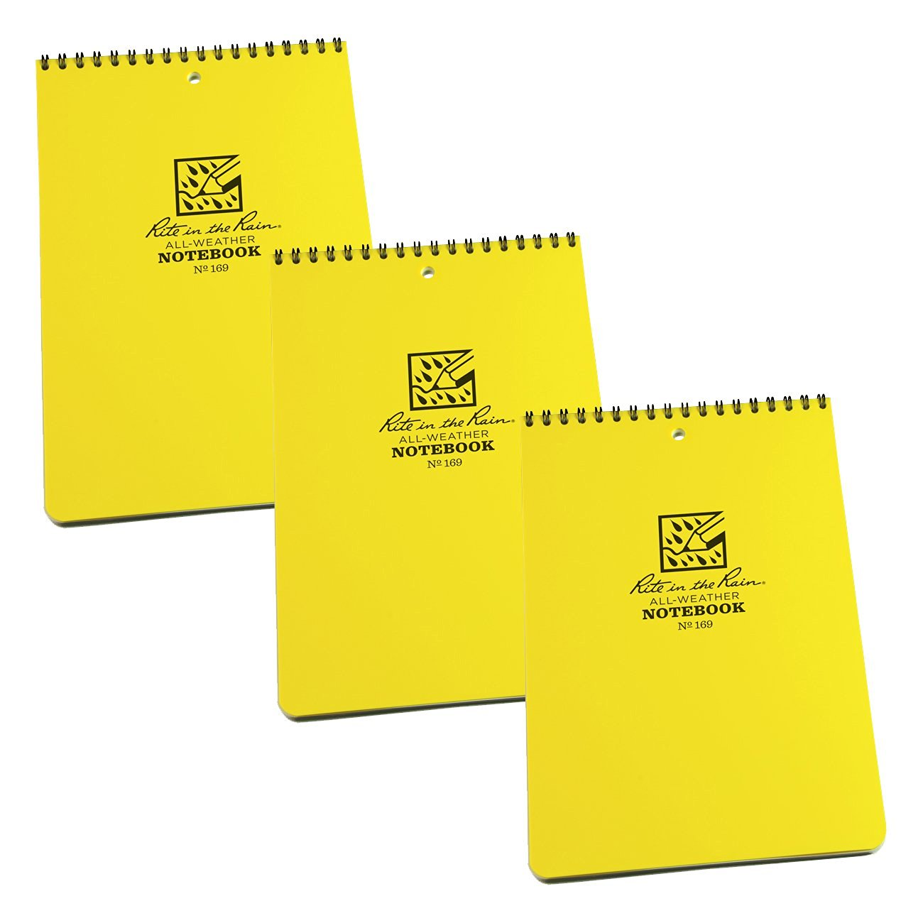 """Rite in the Rain 169 All-Weather 6"""" x 9"""" Top Spiral Universal Notebook, 3-Pack"""