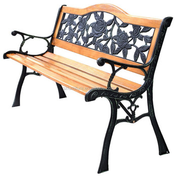 Big Rose Cast Iron And Wood Garden Bench Aluminum Bench Legs Wooden Slats  For Bench