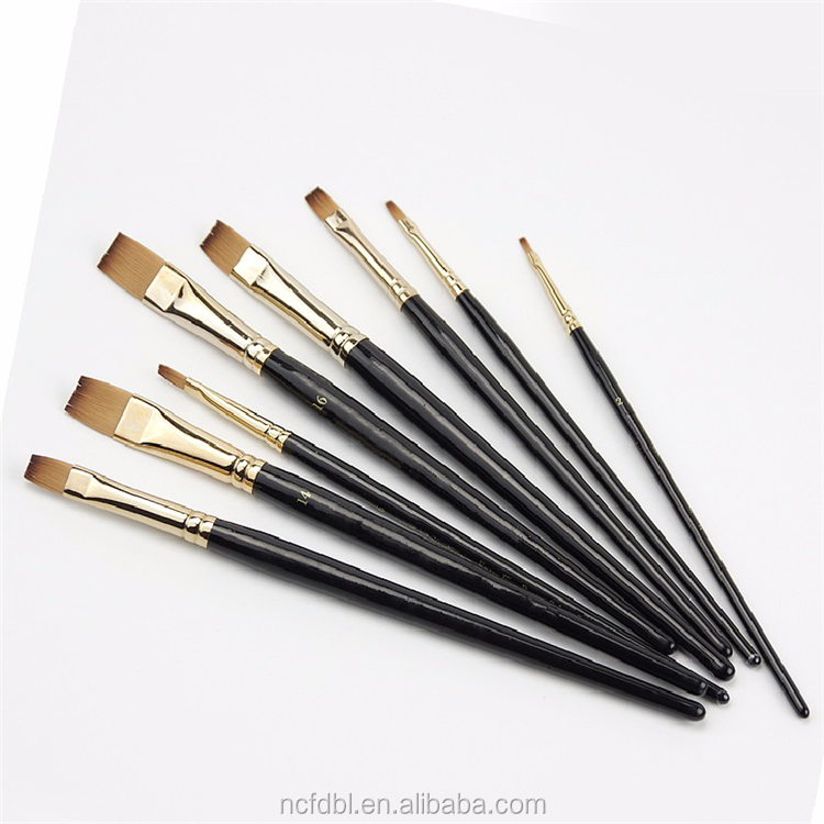 High end 8 pcs synthetic hair flat head oil painting supplies high quality artist paint brush set