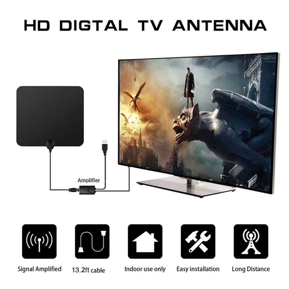 Wholesale digital Indoor TV Antenna Amplified 50 Miles Range Detachable Antena TV digital and Coaxial Cable HD TV Antenna