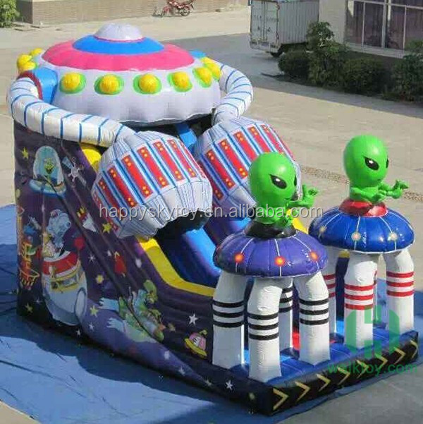 Kids Alien trampoline slide, amusement park rides equipment, kids bunk beds with slide