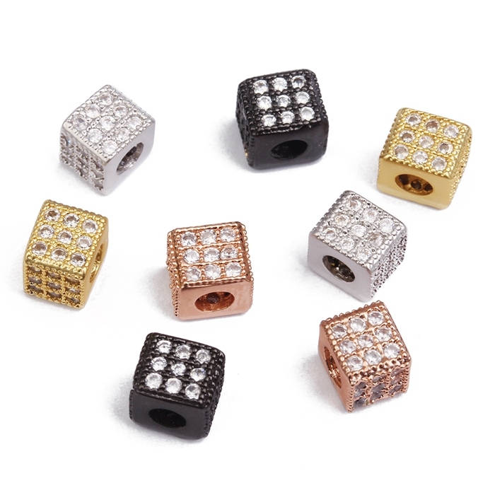 Gold Rectangle Pendant Copper Micro Pave With Zircon Spacer Beads Accessories For Jewelry Making Loose Beads