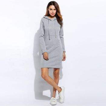 c3585703894 Warm Winter High Quality Hooded Dresses Pocket Long Sleeved Casual Mini  Dress Sport Wear Xxl Women Clothings - Buy Woman Sportwear,Dress Winter,Xxl  ...