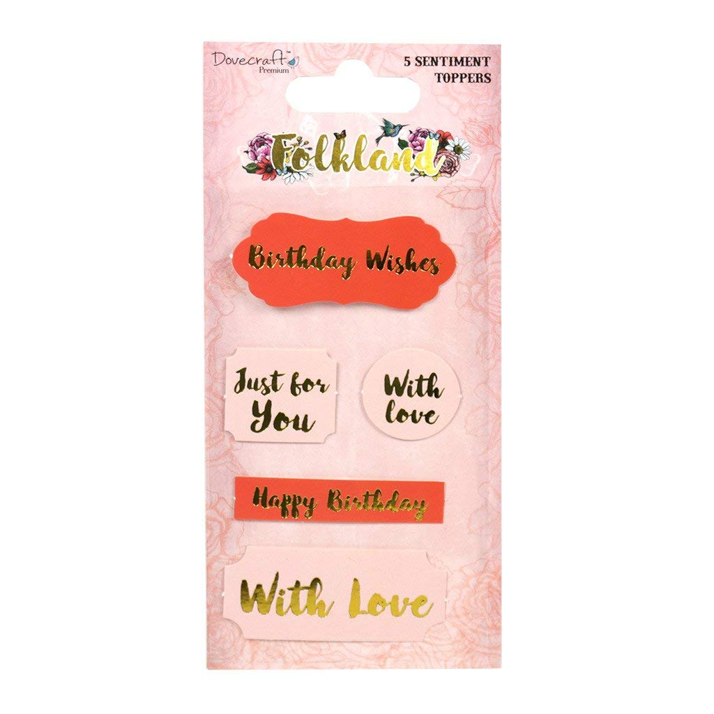 Dovecraft Premium Folkland Paper Craft Collection - Sentiment Toppers (5pcs)