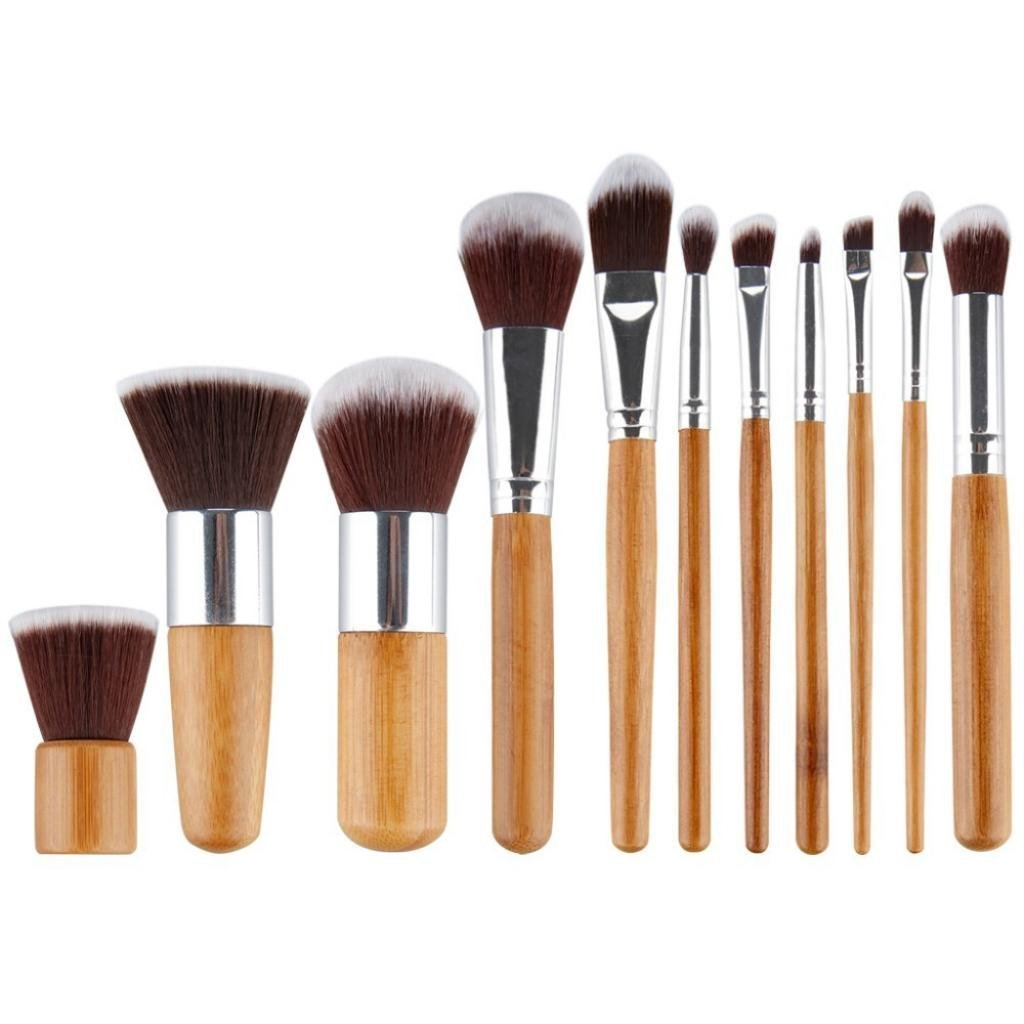 LOUISE MAELYS 11pcs Natural Professional Makeup Brushes Set Cosmetics with Eco-friendly Bag