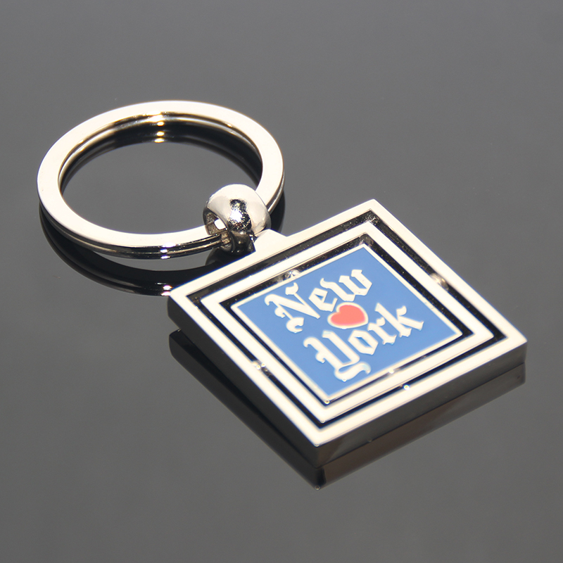 Three Layers Rotate Square Shell Frame America Tourism Souvenir Revolve Metal Key Chain Ring Custom New York Souvenirs Keychain