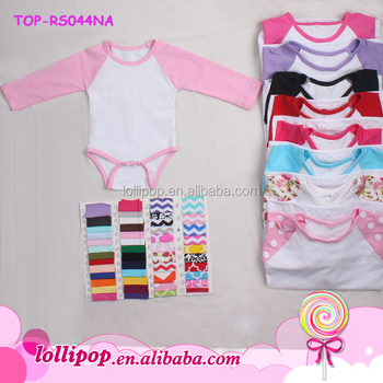 a2fc75923 2018 Multiple solid pink sleeves white body onesie cotton girls romper  wholesale baby newborn clothes baby