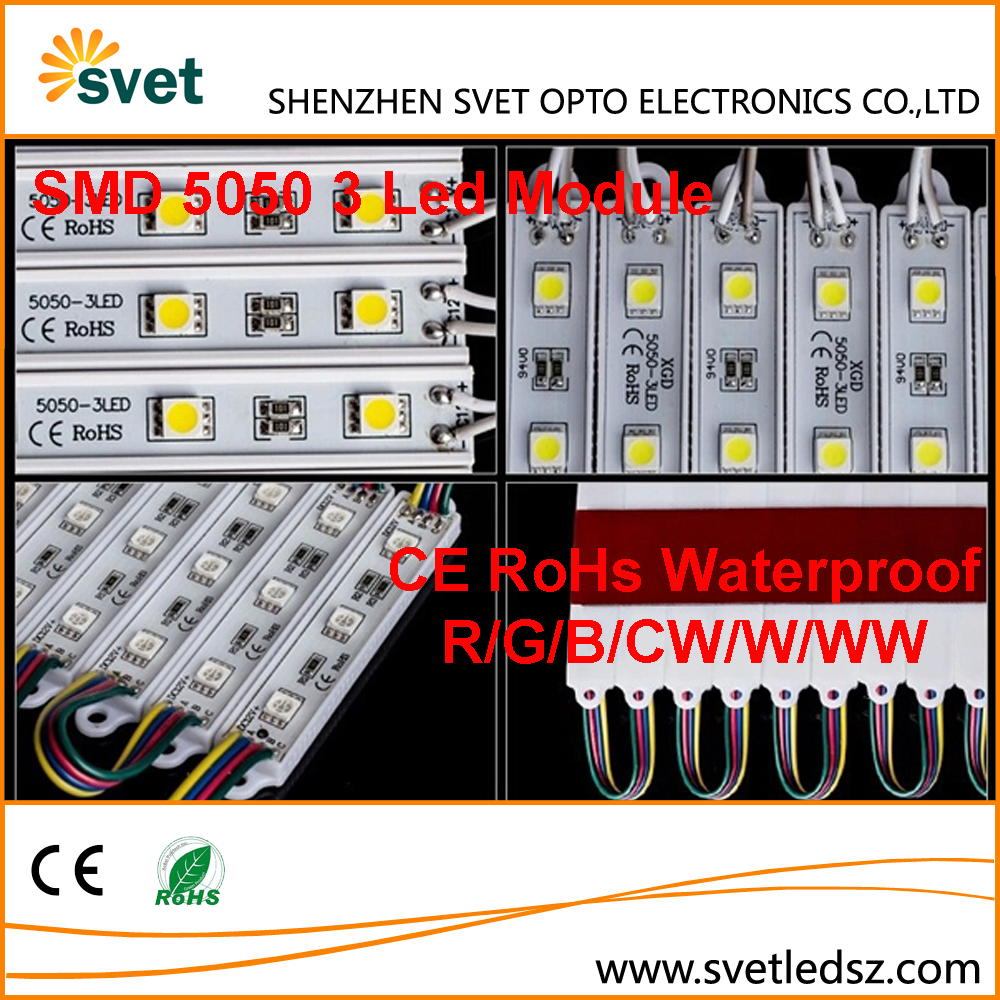 High Power CE RoHs SMD 5050 3 Led RGB Yellow Warm White Natural White Cold White Street Light Module for Signs