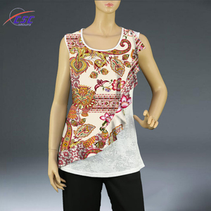 Stylish Design women summer sleeveless printed fancy tunic tops