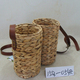 Water Hyacinth Weaving Fishing Creels Hamper Baskets With Faux Leather Straps