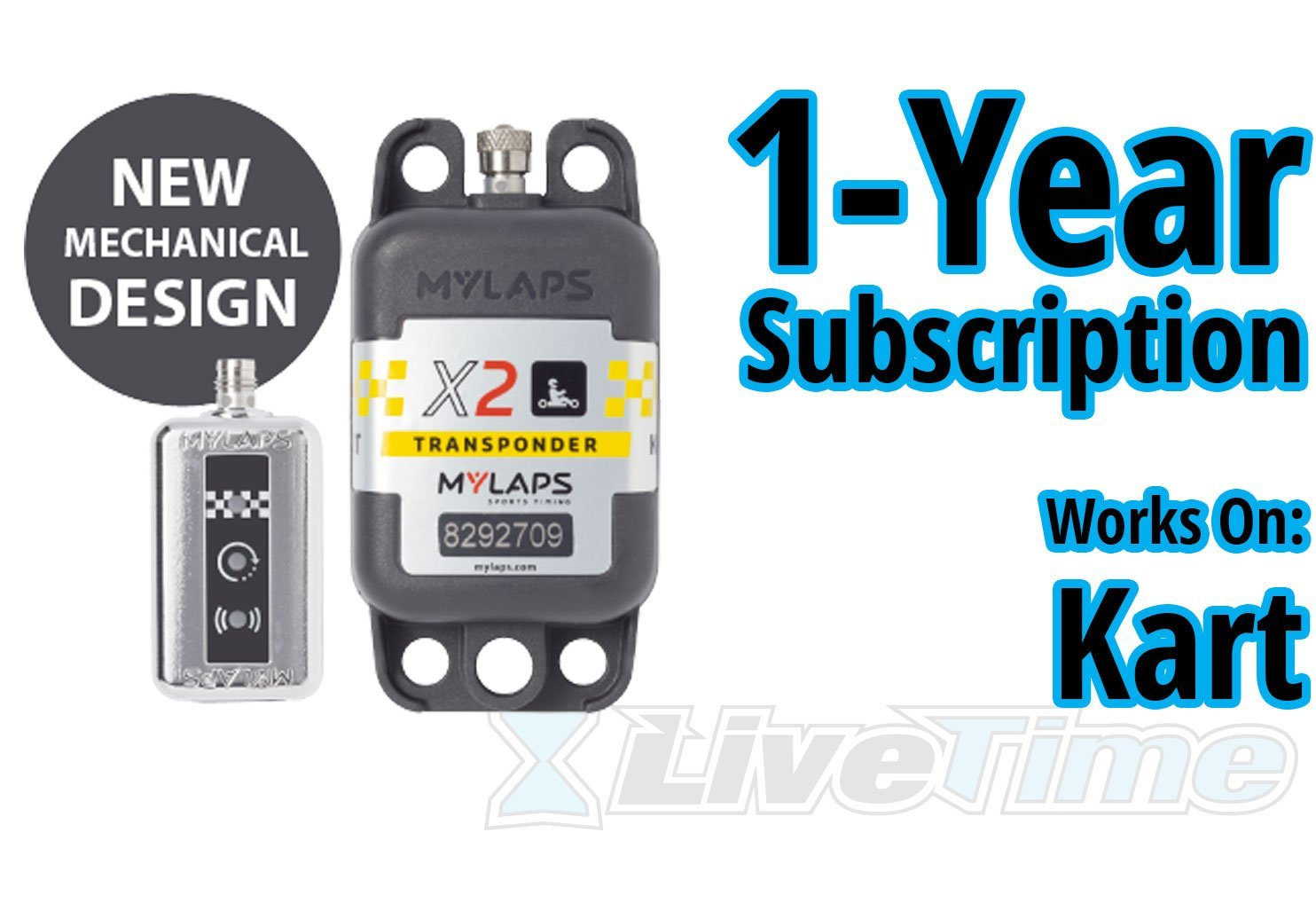 MyLaps X2 Transponder, Rechargeable, for Karting, includes 1-Year Subscription