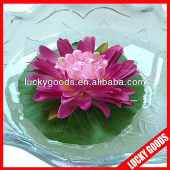 Purple Color Silk Lotus Flower Stand For Weddingfloating Water Lily