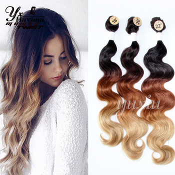 Yxcherishair black brown blonde 613 ombre synthetic hair yxcherishair black brown blonde 613 ombre synthetic hair extensions body wave 3 bundles with closure hair pmusecretfo Image collections
