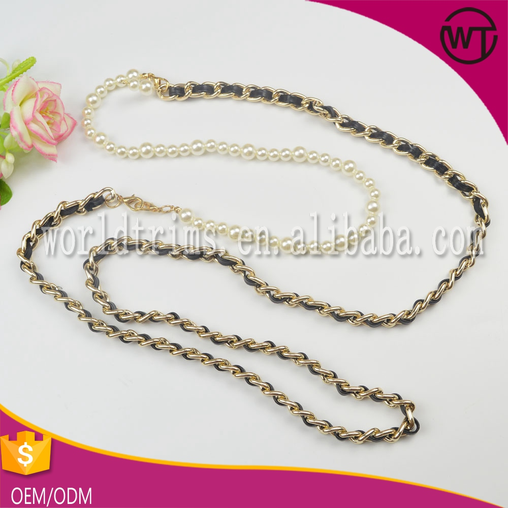 Gold braided chain waist belt for lady WBT34