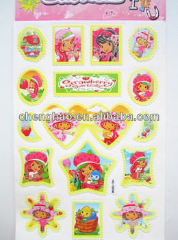Strawberry suitcase decoration glow in the dark glossy pvc sticker