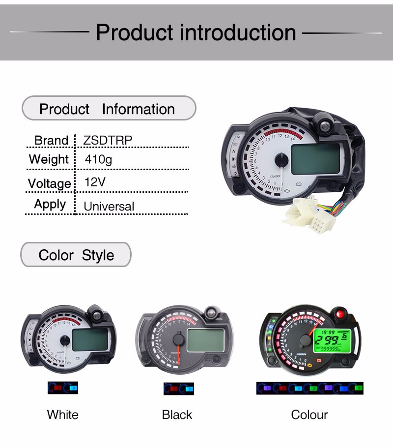 Colorful 15000rpm Universal Motorcycle Digital Lcd Km  H Mph Speedometer Odometer Tachometer