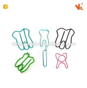 V-P247 Custom logo tooth shaped personalized metal paper clip for school office