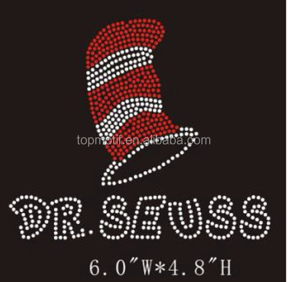 strass applique heat press rhinestone dr seuss transfers