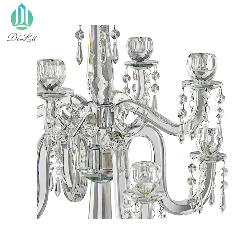 A- Factory Wholesale 5 Arm Crystal Candelabra Tall Glass Candle Holders Crystal Candelabra for Wedding Decoration Centerpiece