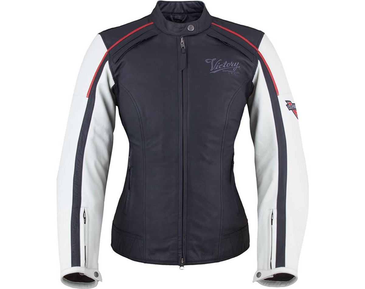 Victory Motorcycles Women's Cascade Jacket Black/White Leather (Large)