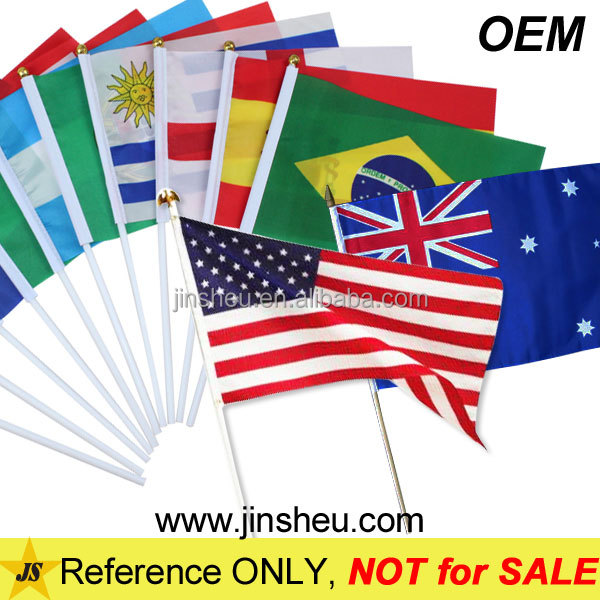 China Manufacturer Custom Cheap Country Flag Polyester Hand Flag