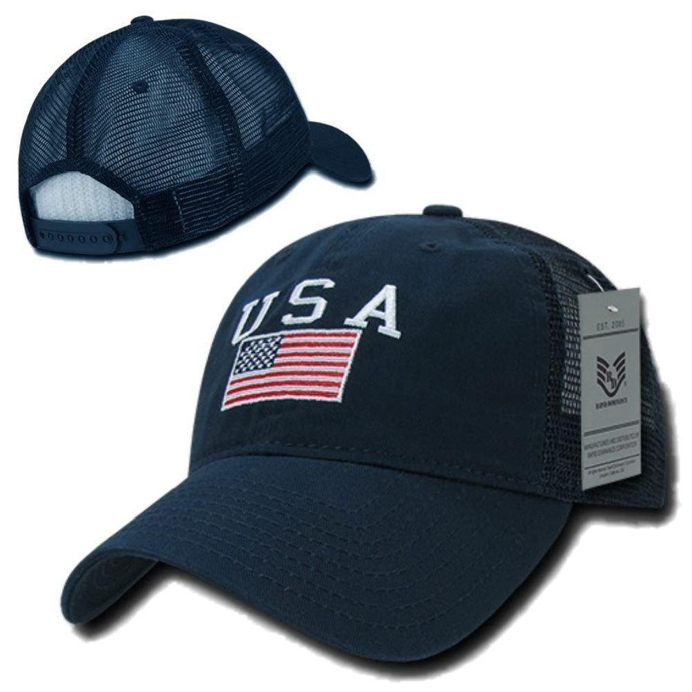c3a2b206 Get Quotations · Navy USA US American Flag United States America Polo  Trucker Baseball Hat Cap