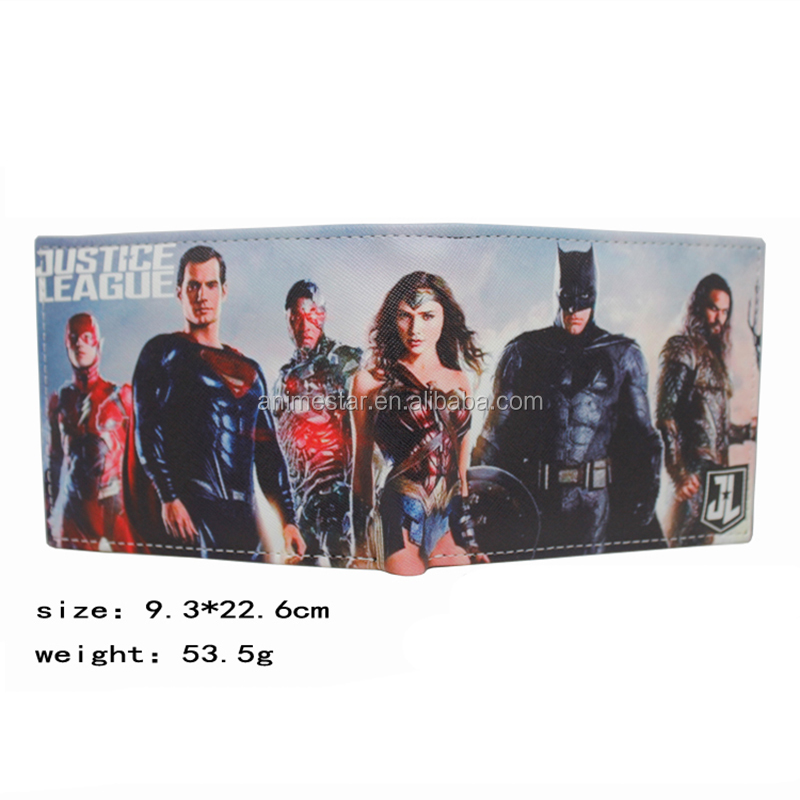 American Super Hero DC Cartoon Justice League PU Wallet Anime Purse Bag Supplies