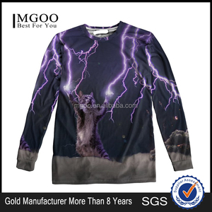 Wholesale Polyester Promotional 3D Digital Print Unisex Lightning Cat Print Sublimation T Shirt