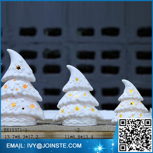 Winter snowing white ceramic Christmas tree decorations led Christmas tree