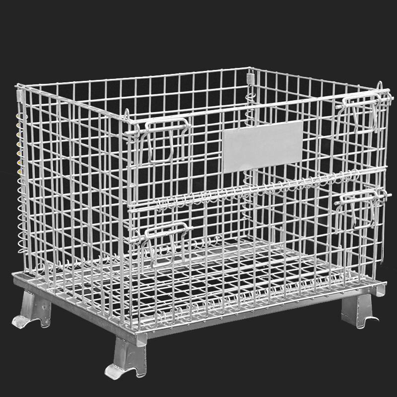 Vendita calda Anti-corrosione filo mesh contenitore pieghevole di stoccaggio gabbia con ruote