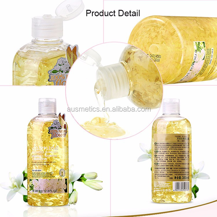 OEM brand wholesale jasmine petal moisturizing skin whitening body wash gel white care shower gel