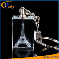 3d laser engraving crystal glass keychain eiffel tower keychain gifts souvenir