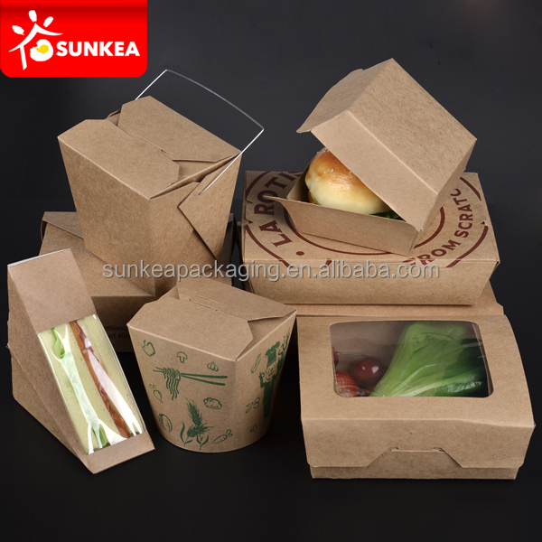 Disposable Biodegradable Chinese Takeaway Kraft Paper Fast