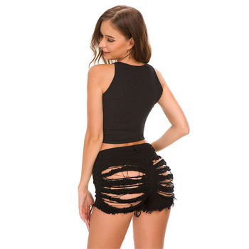 Sexy Summer Women Denim Shorts New Black Blue High Waist Ripped Short Jeans Femme Tassel Lace Up Bandage Hotpants