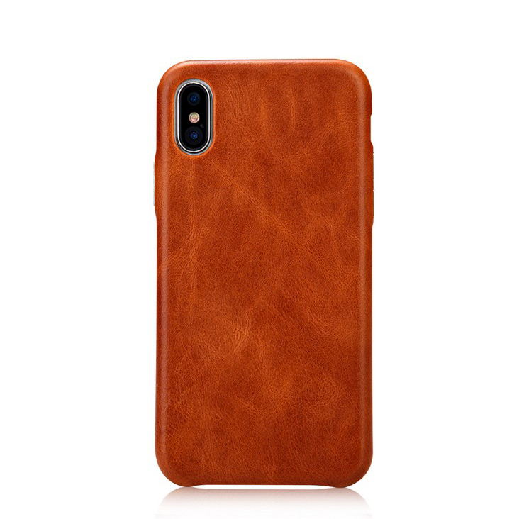 cow leather case for iphone X XR XS max back cover shockproof business custom <strong>hot</strong> stamping brand logo