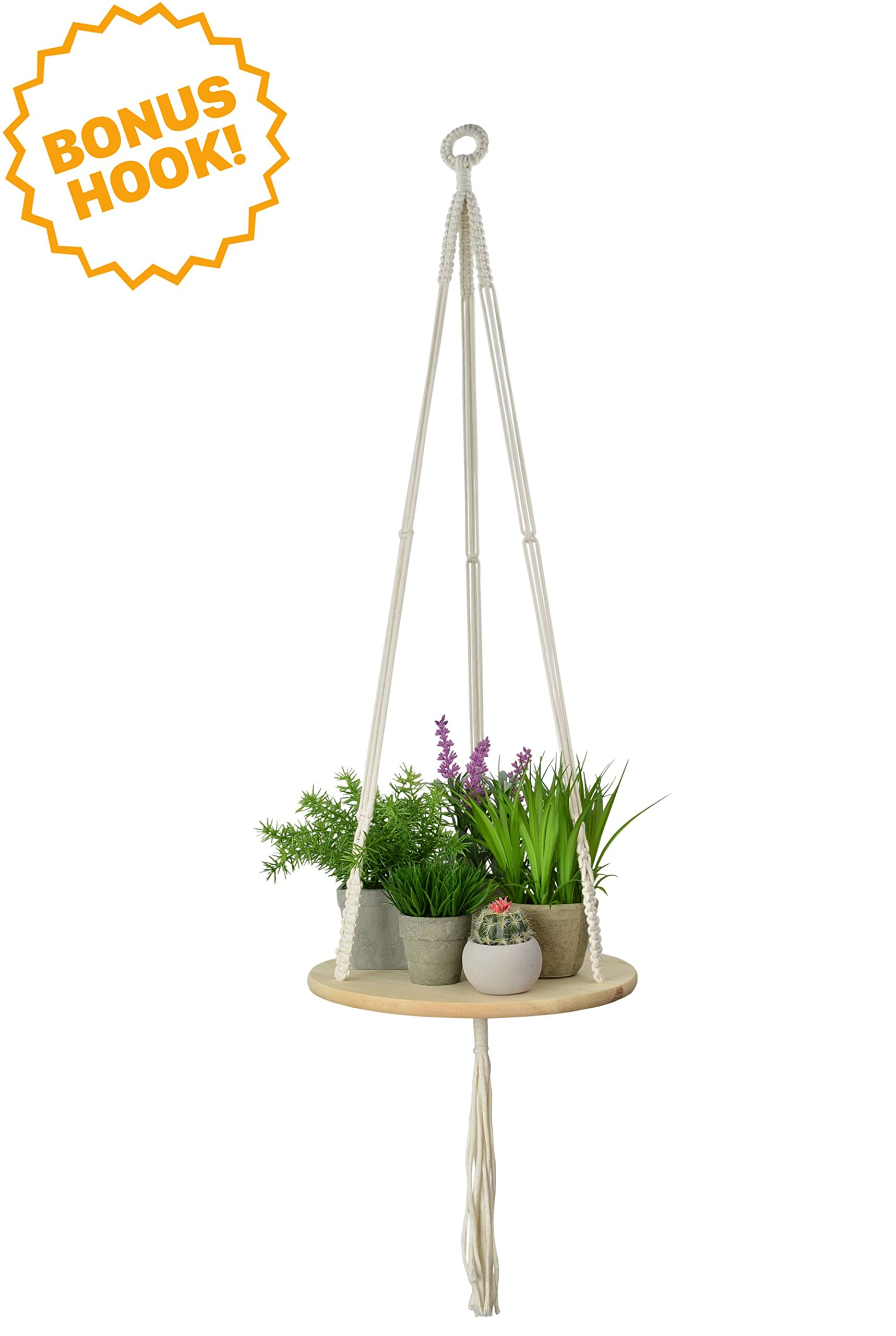 Macrame Plant Hanger - Indoor/Outdoor Hanging Shelf Planter - BONUS HOOK INCLUDED!! - Boho Wall Decor for Succulents, Cactus, Air Plants & Crystal Display Sold By My Urban Crafts - 43 Inches (Round)