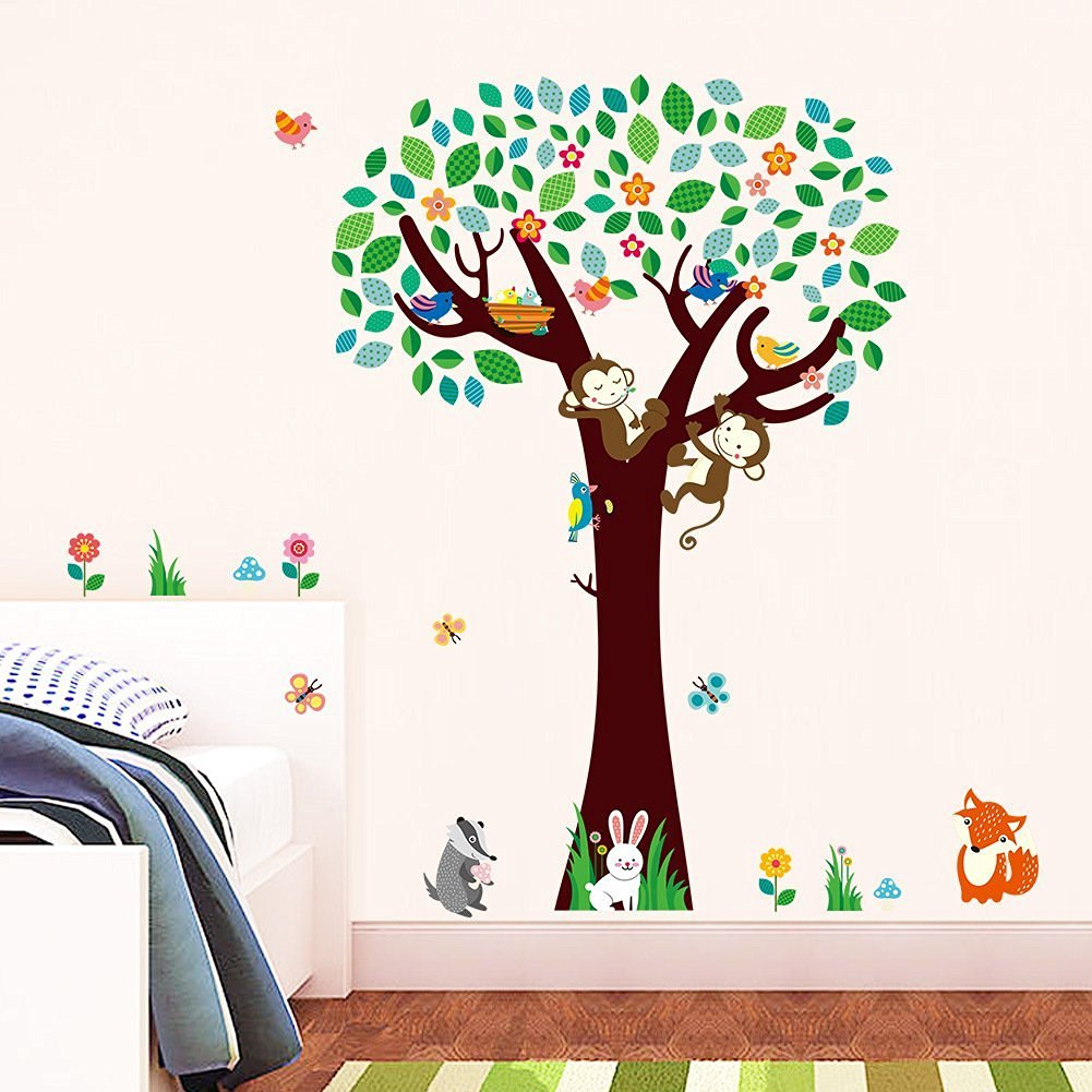 ElecMotive Cartoon Forest Animal Monkey Birds Fox Rabbits Butterfly Tree Flowers Nursery Wall Stickers Wall Murals DIY Posters Vinyl Removable Art Wall Decals for Kids Girls Room Decoration
