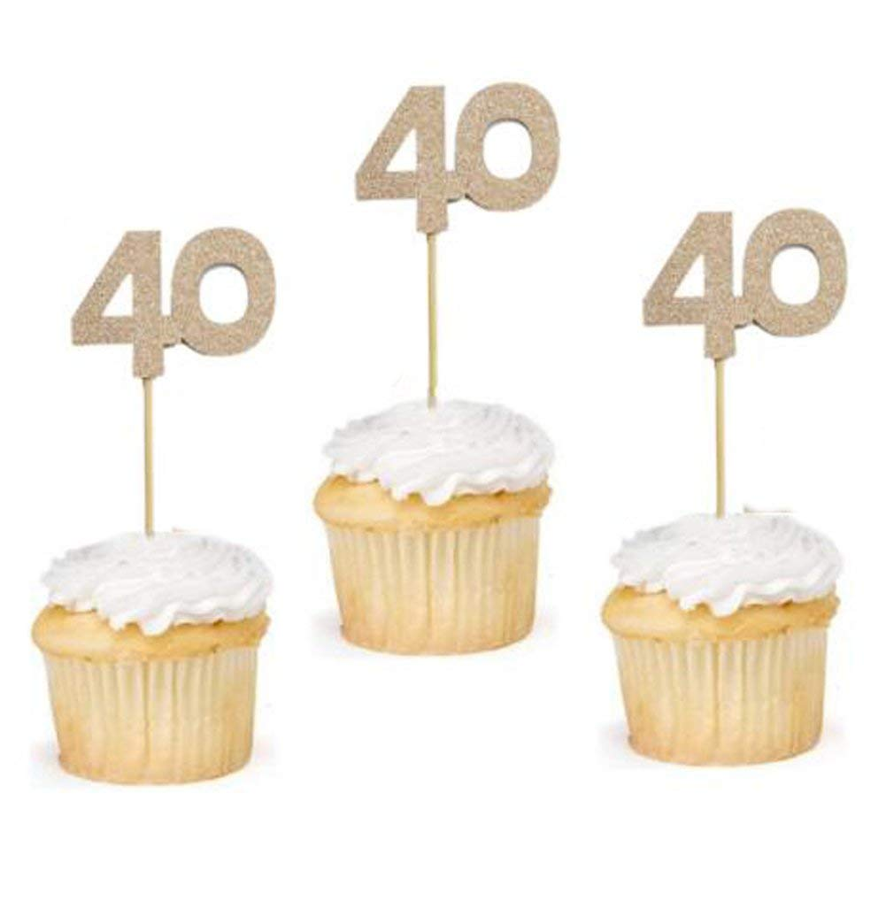 24 Pcs of Glitter Rose Gold Number 40 Cupcake Toppers 40th Birthday Celebrating Birthday Party Anniversary Cake Topper Decor