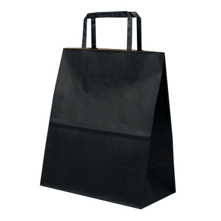 custom black shopping bag colored kraft paper carrier bag with flat or twist handle