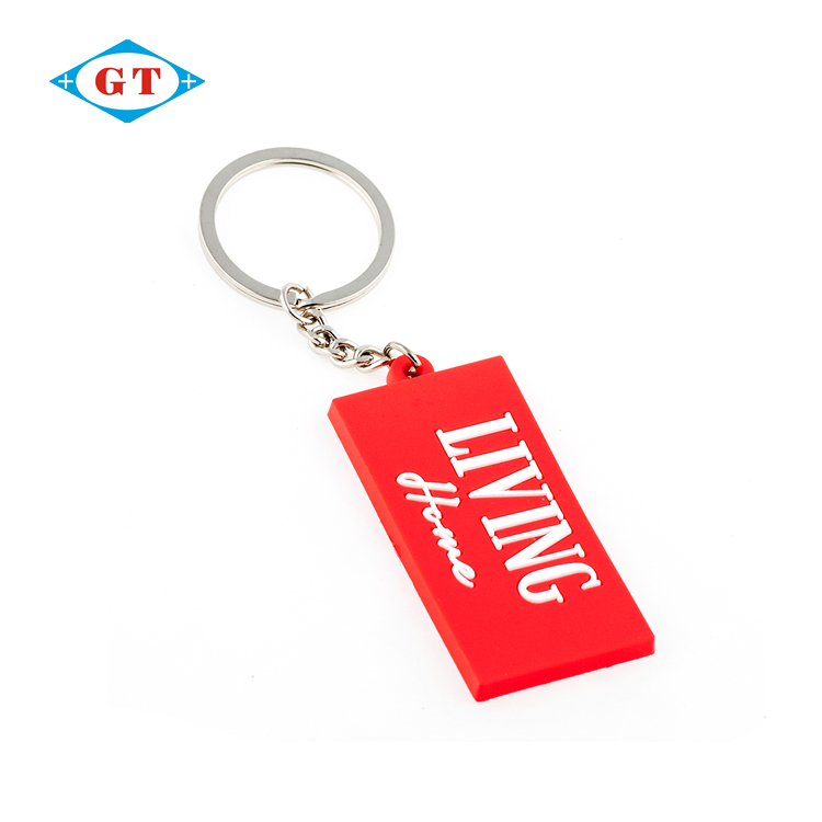 Promotional wholesale cheap red custom rubber keychain for gifts