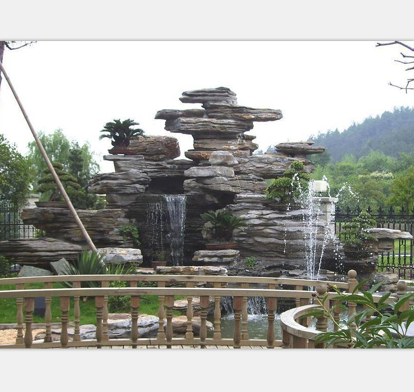 Guangzhou Garden Decoration fiberglass artificial rock waterfall