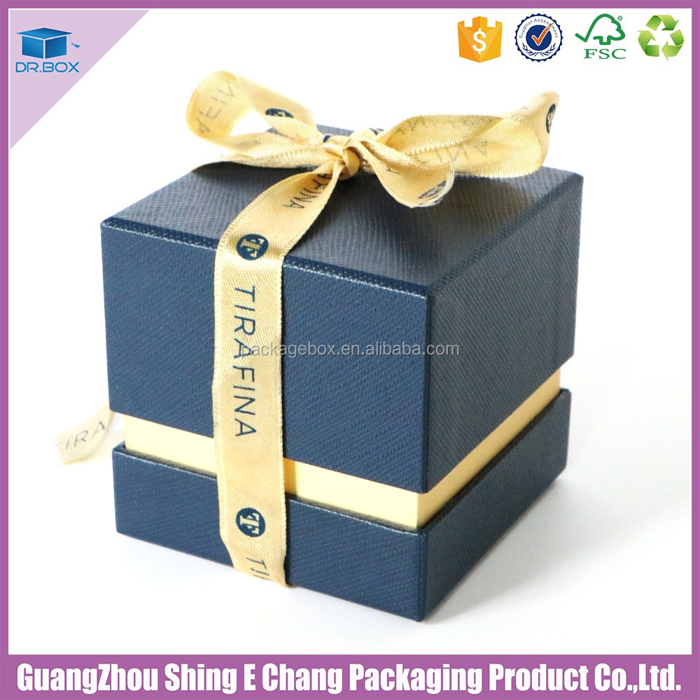 2017 blue special paper jewelry box with ribbon printing logo / gift box with lid for saudi gold jewelry box
