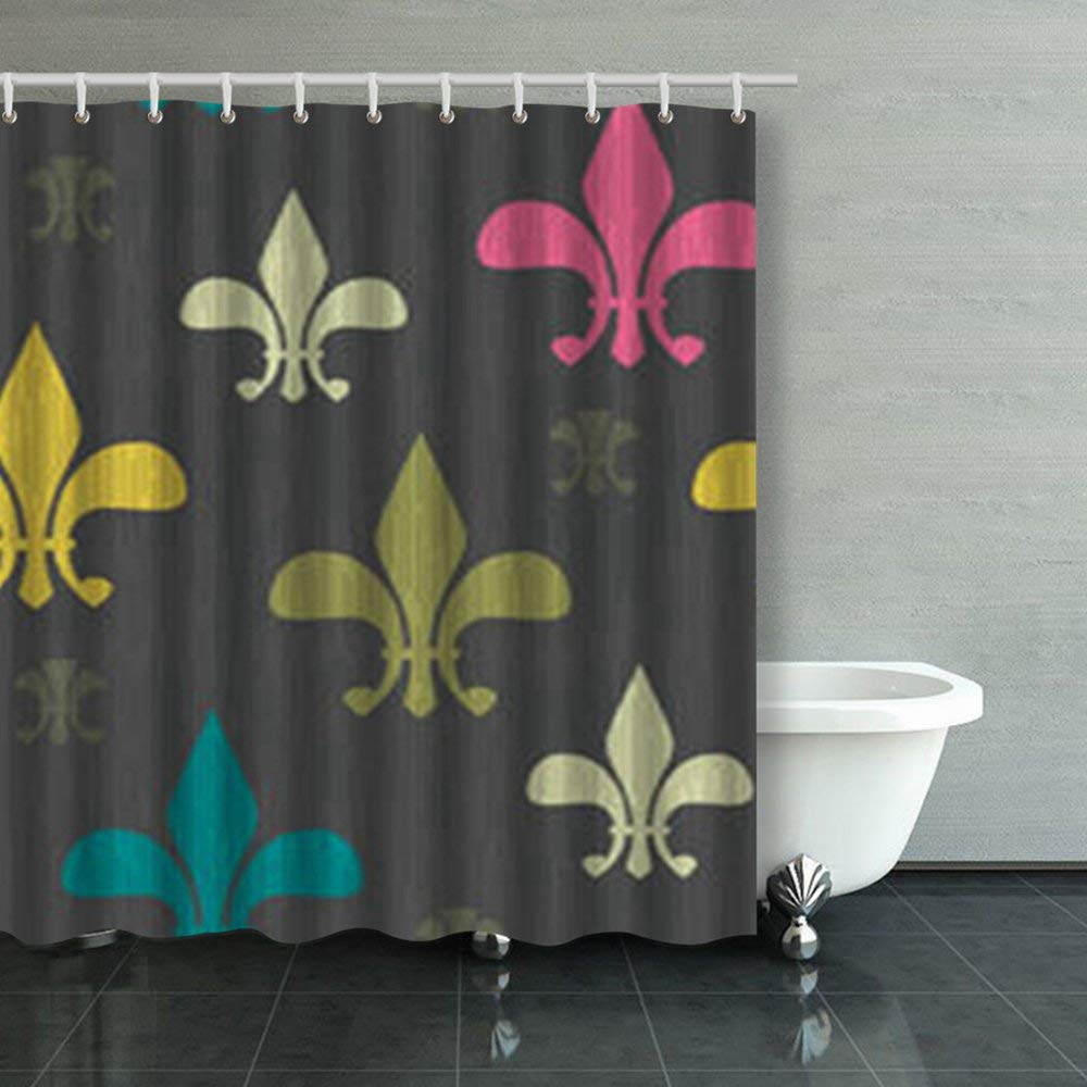 Mardi Gras Shower Curtain Fleur De Lis Beads Print For Bathroom