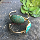 BM11259 Fashion Wholesale Gold Plated Green Oval Coral Stone Cuff Bangle Bracelet Turtle Shell Stone Bracelet