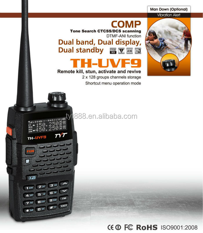 TYT TH-UVF9 walkie talkie phones push to talk dual band dual display dual standby 128*2 channels PTT ID/MSK/DTMF/VOX/TOT