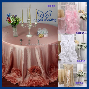 CL052B Fancy New 2015 Round Ruffled Flower Fancy Wedding Coral Taffeta  Rosette Table Cloth